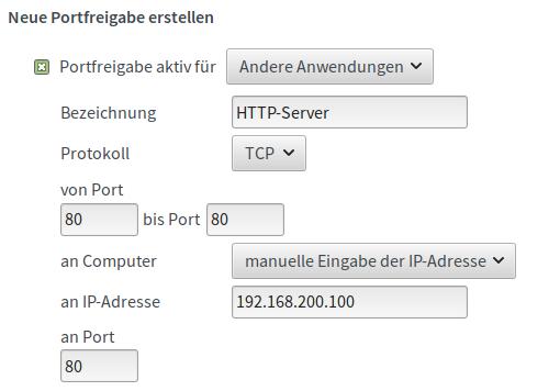Port-Weiterleitung Fritzbox